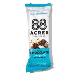 88 Acres Bars Reviews and Info - Vegan, Gluten-Free, and Top Allergen Free, made with real ingredients. Pictured: Dark Chocolate Sea Salt