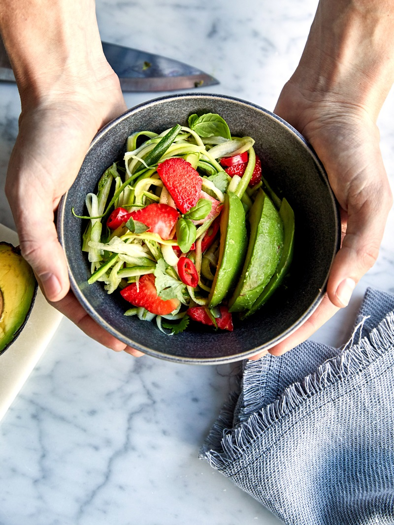 Paleo-Friendly Triple Avocado Salad Recipe with Fresh Zucchini, Strawberries, and Basil (Dairy-Free; Vegan optional)