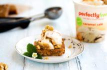 Salted Caramel Cafe Vegan Blondies Recipe served a la mode! Includes simple nut-free option!