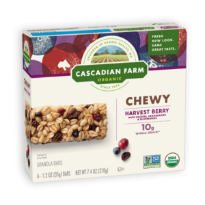 Cascadian Farm Organic Chewy Granola Bars Reviews and Info - Dairy-Free Varieties! Pictured: Harvest Berry