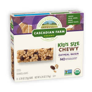 Cascadian Farm Organic Chewy Granola Bars Reviews and Info - Dairy-Free Varieties! Pictured: Kids Oatmeal Raisin