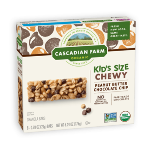 Cascadian Farm Organic Chewy Granola Bars Reviews and Info - Dairy-Free Varieties! Pictured: Kids Peanut Butter Chocolate Chip