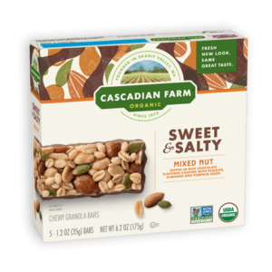 Cascadian Farm Organic Chewy Granola Bars Reviews and Info - Dairy-Free Varieties! Pictured: Sweet and Salty Mixed Nuts