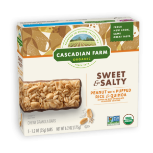 Cascadian Farm Organic Chewy Granola Bars Reviews and Info - Dairy-Free Varieties! Pictured: Sweet and Salty Puffed Rice and Quinoa