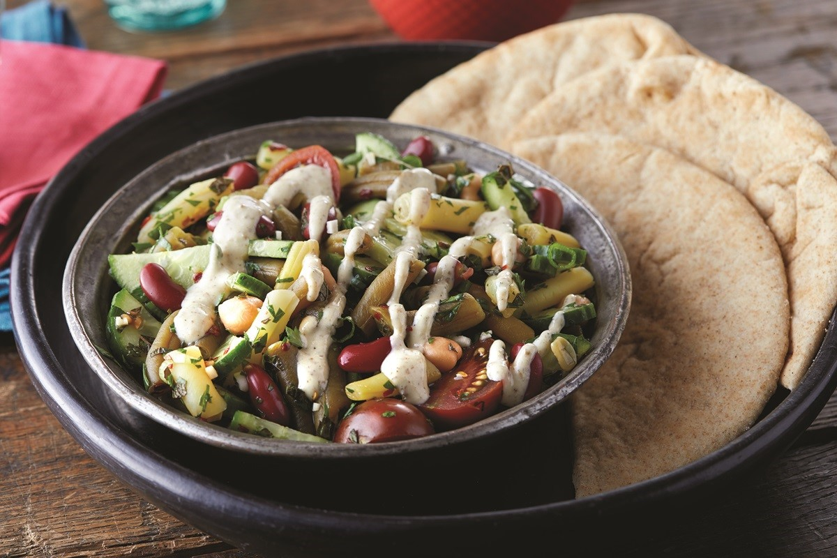 Middle Eastern Bean Salad with Za-atar Hummus Dressing
