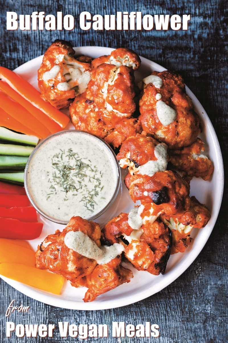 Buffalo Cauliflower Recipe with Nut-Free Sunflower Ranch Dip (also vegan, gluten-free and soy-free). A perfect appetizer for game day! #footballfood #veganappetizer