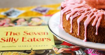 The Seven Silly Eaters Cake Recipe with Pink Lemonade Icing! A delicious, fun oatmeal applesauce cake that's Dairy-Free and Nut-Free!