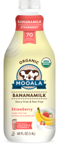 Mooala Bananamilk Reviews and Information - dairy-free, nut-free, soy-free, vegan and made with real bananas. Pictured: Strawberry Bananamilk