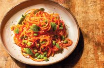 "Carrot Noodles Recipe with Sesame, Miso, and Edamame (a ""beauty"" recipe by Chef Candice Kumai) - plant-based, dairy-free, gluten-free #spiralizer"