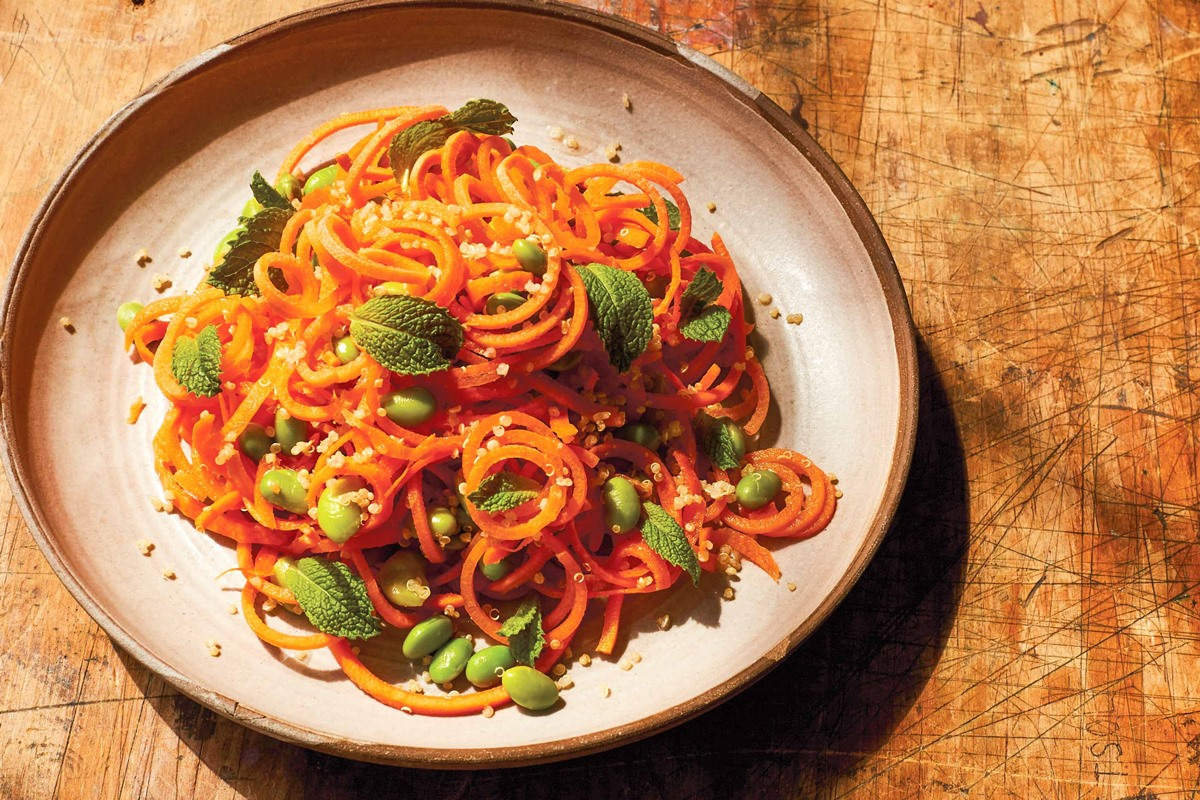 """Carrot Noodles Recipe with Sesame, Miso, and Edamame (a """"beauty"""" recipe by Chef Candice Kumai) - plant-based, dairy-free, gluten-free #spiralizer"""