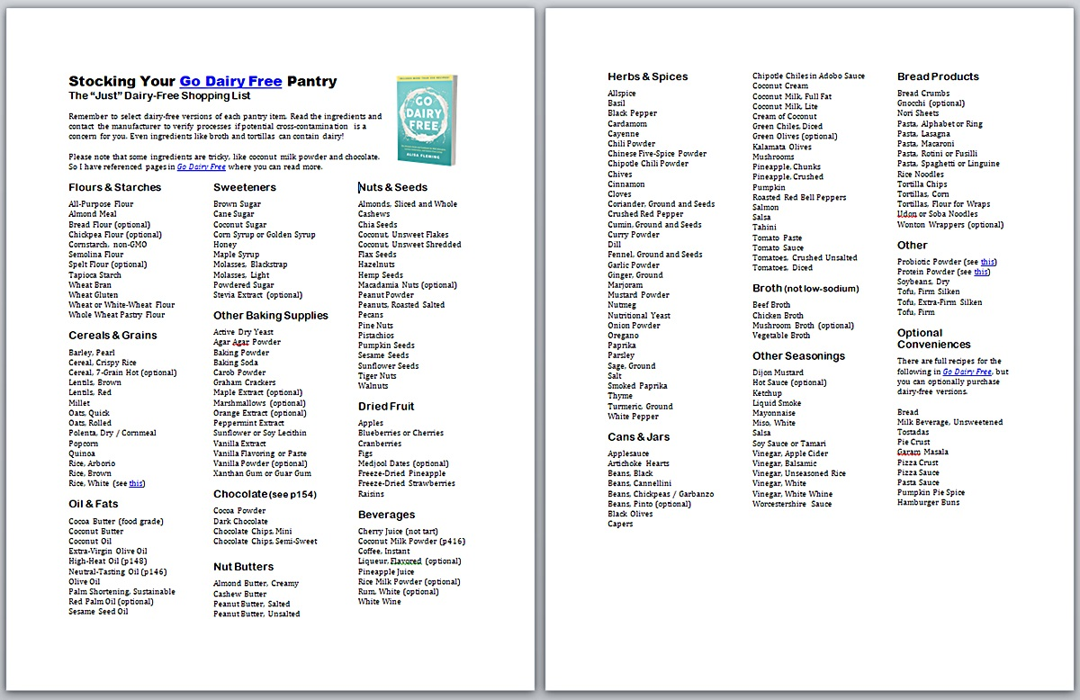 Go Dairy Free Pantry Stocking Shopping List - Just Dairy Free Version