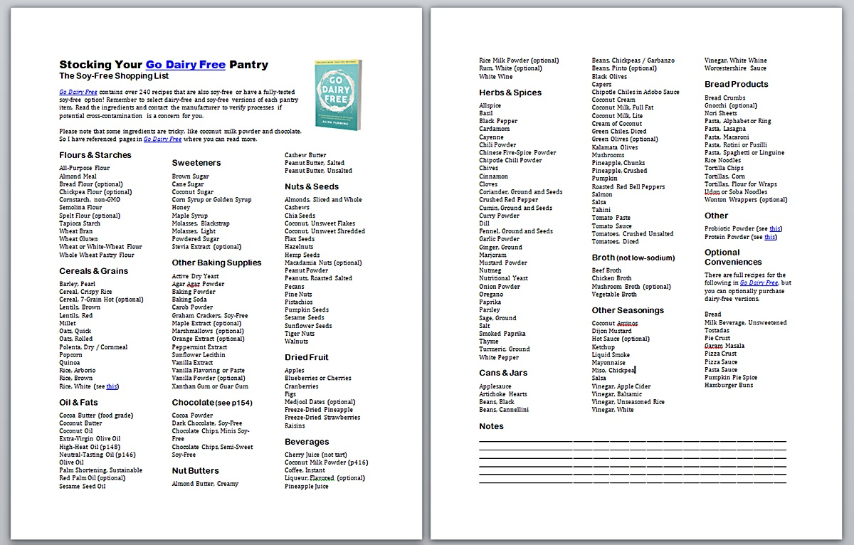 Go Dairy Free Pantry Stocking Printables - with Vegan, Gluten-free, Nut-free, and Soy-free options
