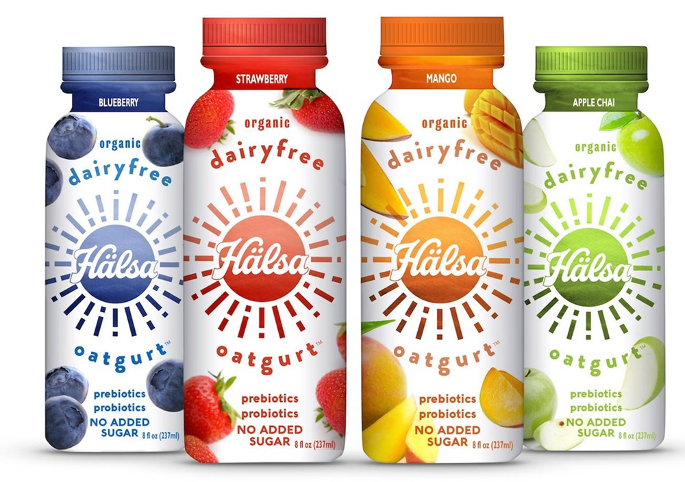 Halsa Oatgurt is a drinkable dairy-free yogurt made with oats and fruit juices. Rich in prebiotics and probiotics