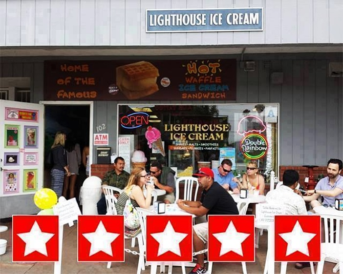 Lighthouse Ice Cream in San Diego (Ocean Beach) offers vegan ice cream and non-dairy sorbet daily