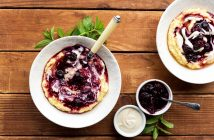 Creamy Berry-Full Breakfast Polenta with Simple Cashew Cream - 2 sample recipes from Vegan Yack Attack on the Go! by Jackie Sobon