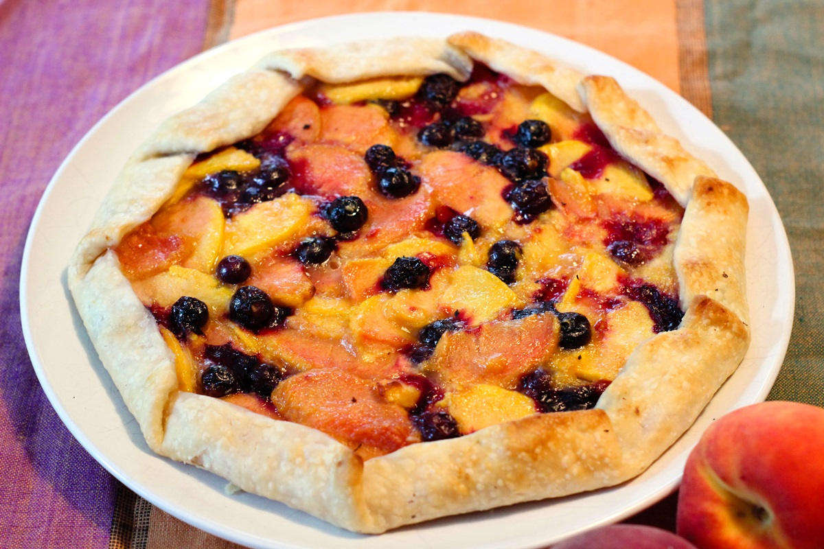 Blueberry Peach Crostata Recipe - a deliciously dairy-free and vegan rustic free form tart (just 5 ingredients!)