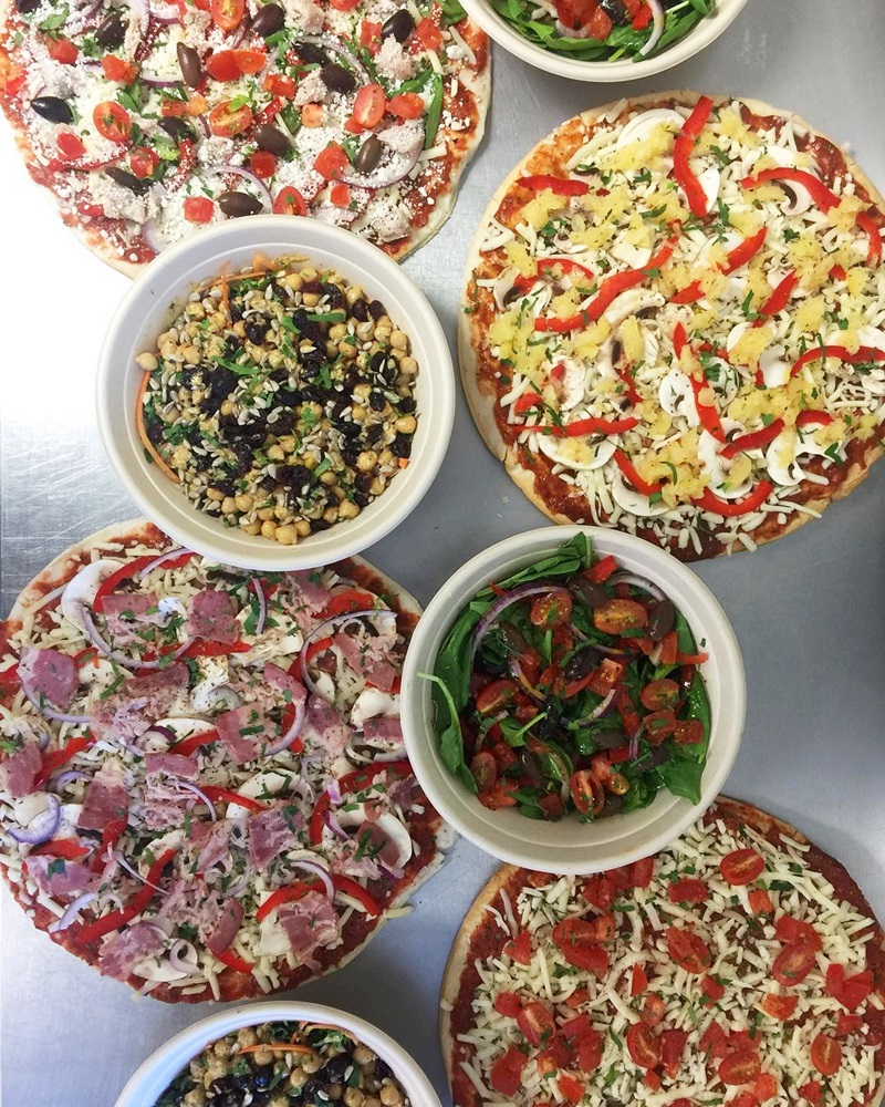 The Village Flatbread Co. in Calgary Alberta is a gluten-free, egg-free, seafood-free, halal pizza restaurant with a full menu of dairy-free and vegan options
