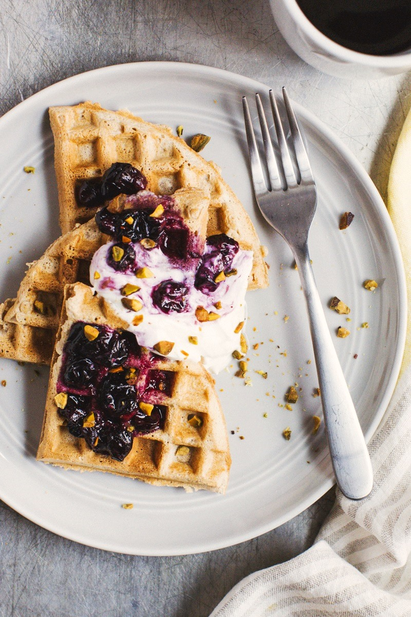 Dairy-Free Whole Wheat Weekend Waffles from A Couple Cooks - Pretty Simple Cooking