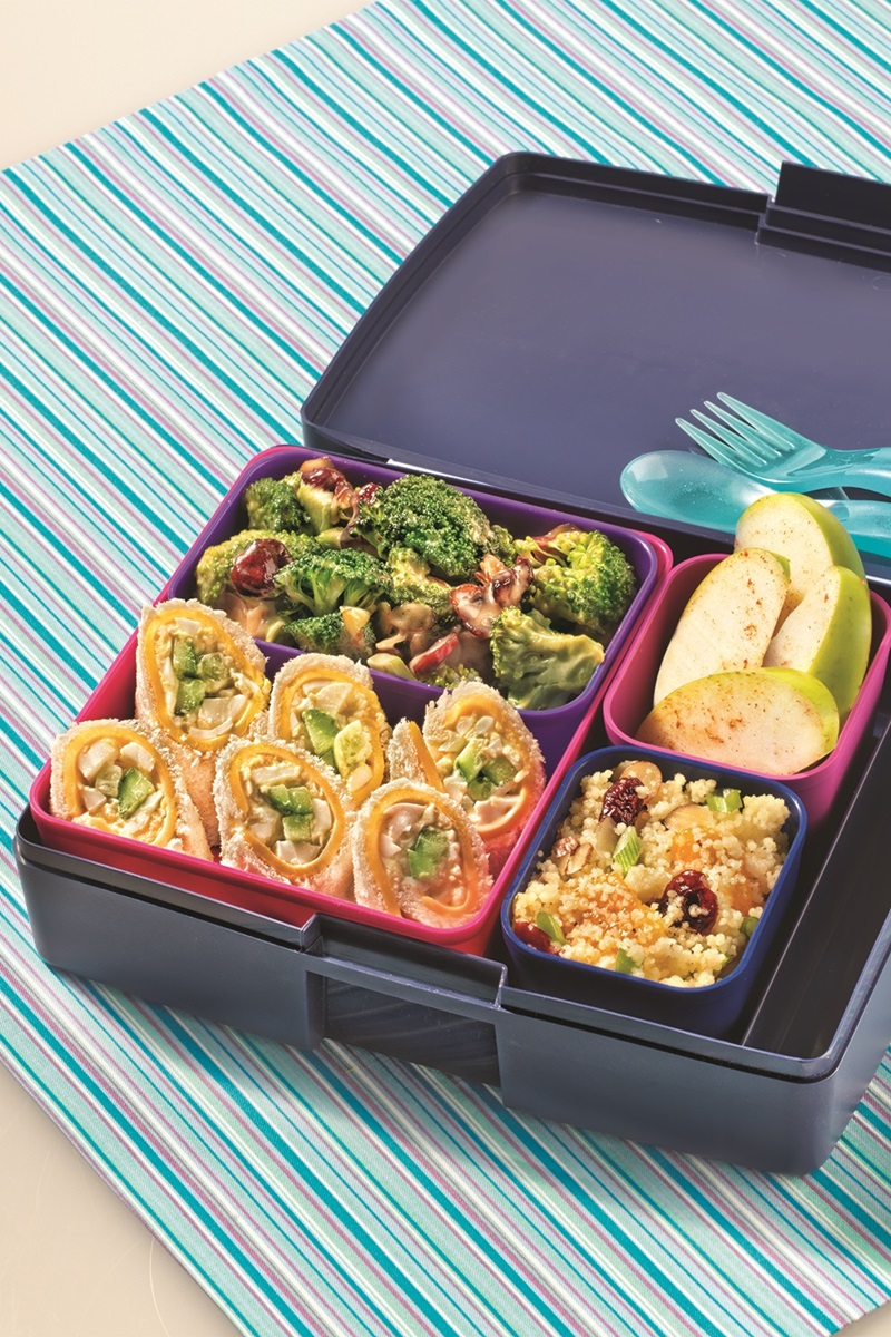 Sandwich Sushi Bento Box Lunch with Quinoa Salad, Broccoli Salad, and Cinnamon Apples - 4 recipes in 1! Dairy-free with gluten-free, nut-free and vegan options.