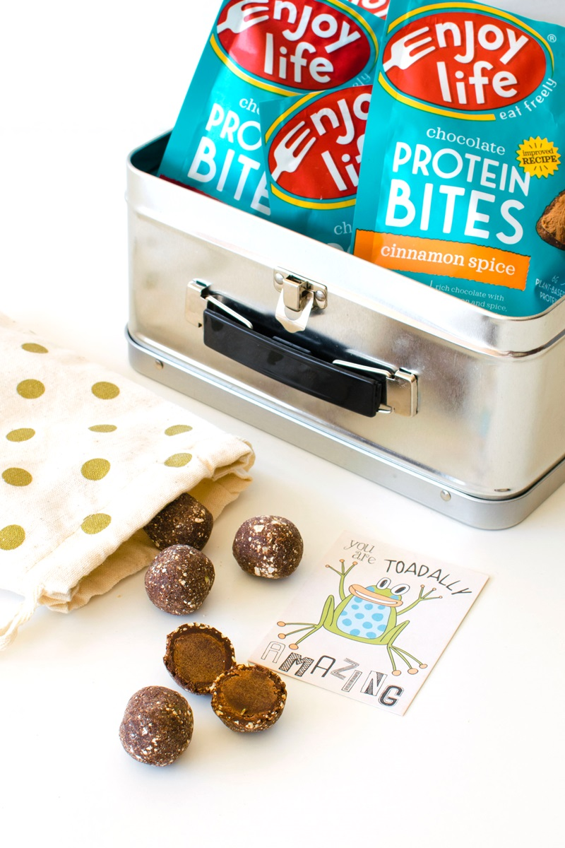 New Enjoy Life Chocolate Protein Bites Flavors and Formulas - vegan, top allergen-free, palm oil-free, and a great snack for lunchboxes! #dairyfree #nutfree #proteinbites #chocolatesnack