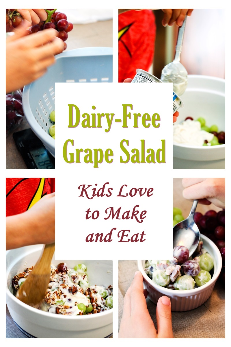 Dairy-Free Grape Salad Recipe that Kids Love to Make and Eat! Also vegan, gluten-free, and optionally allergy-friendly.