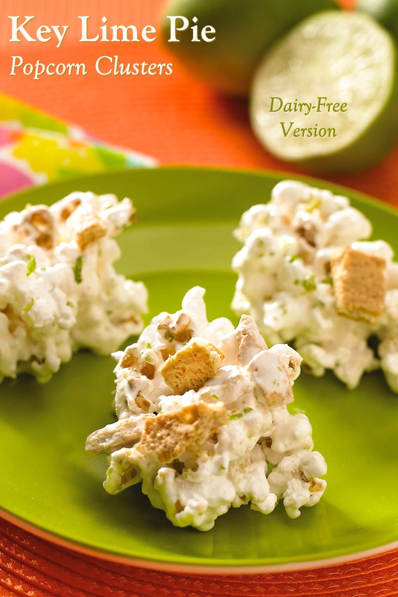Dairy-Free Key Lime Pie Popcorn Clusters Recipe (gluten-free and vegan options). Sweet, fun, crunchy, flavorful, and a lively swap for rice crispy treats.