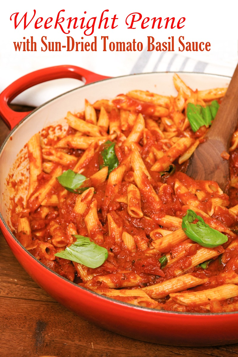 Weeknight Penne with Savory Sun-Dried Tomato Basil Sauce (Shortcut Recipe!) - dairy-free, plant-based, gluten-free, allergy-friendly #weeknightdinner