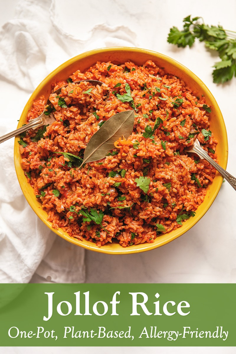 One-Pot Jollof Rice Recipe - naturally plant-based, gluten-free, dairy-free, and top food allergy-friendly.