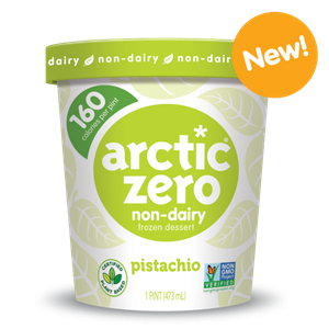 Arctic Zero Dairy-Free Ice Cream in Two New Flavors: Classic Vanilla and Pistachio.