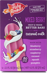 Ruby Rockets Better Bars (Review): No Sugar Added Frozen Treats made with Fruits, Veggies, and Coconut Milk (vegan, dairy-free, gluten-free, nut-free, soy-free). Pictured: Mixed Berry