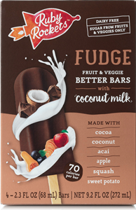 Ruby Rockets Better Bars (Review): No Sugar Added Frozen Treats made with Fruits, Veggies, and Coconut Milk (vegan, dairy-free, gluten-free, nut-free, soy-free). Pictured: Fudge