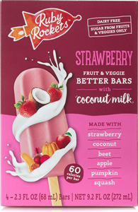 Ruby Rockets Better Bars (Review): No Sugar Added Frozen Treats made with Fruits, Veggies, and Coconut Milk (vegan, dairy-free, gluten-free, nut-free, soy-free). Pictured: Strawberry