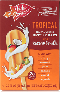 Ruby Rockets Better Bars (Review): No Sugar Added Frozen Treats made with Fruits, Veggies, and Coconut Milk (vegan, dairy-free, gluten-free, nut-free, soy-free). Pictured: Tropical