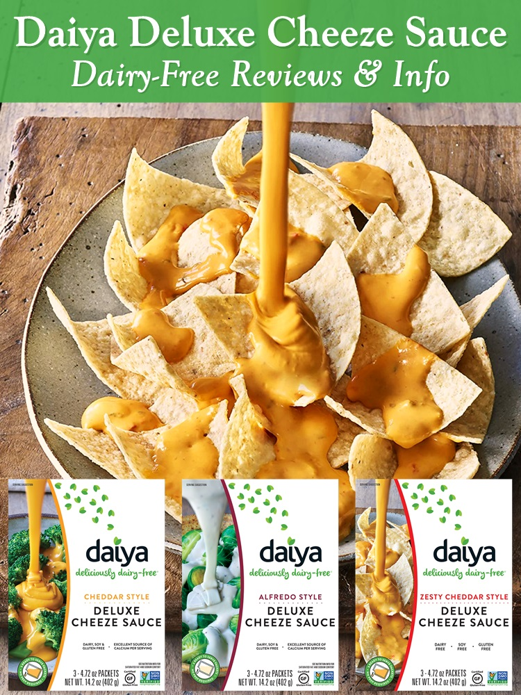 Daiya Deluxe Cheeze Sauce - convenient, shelf-stable, ready to serve packets of dairy-free, vegan, gluten-free, allergy-friendly cheese and alfredo sauces.