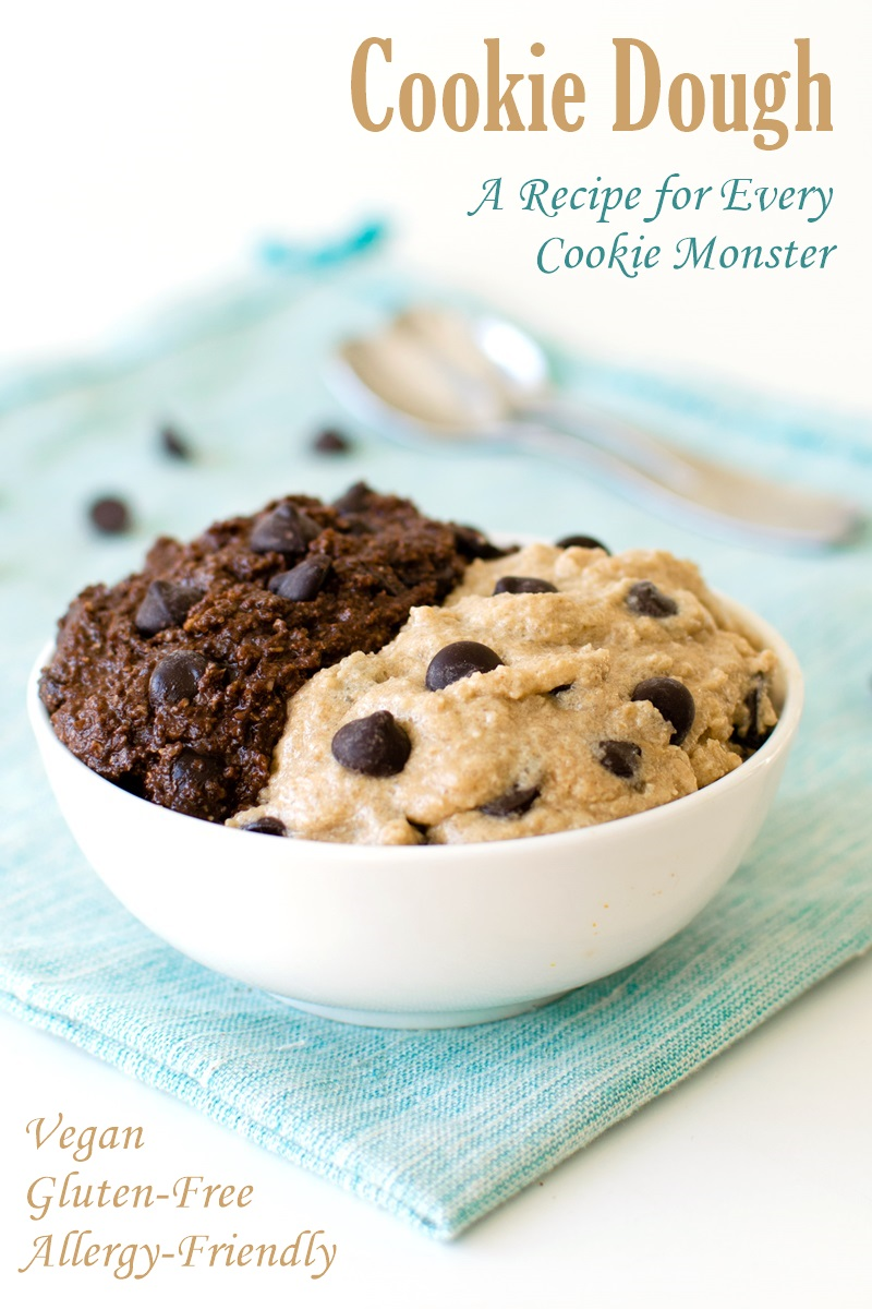 Chocolate Chip Cookie Dough Recipe for Every Cookie Monster (with Double Dark Chocolate Option) - naturally vegan, gluten, egg-free, flour-free, dairy-free, and nut-free - cookie dough you can eat!
