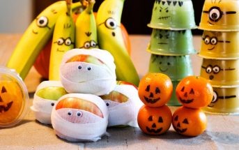 7 Healthy Fruit Halloween Snacks You Can Pack (Crafty with Kids!) - All vegan, gluten-free, and top food allergy-friendly. Nutritious, fun Halloween Project with Kids