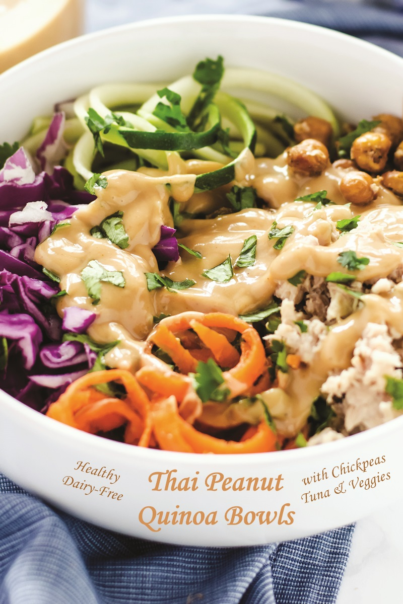 Thai Peanut Quinoa Bowls Recipe with Garlic Roasted Chickpeas - dairy-free with gluten-free, soy-free, peanut-free and vegan options
