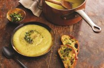 Rustic Tuscan Potato Leek Soup with Olive Oil Pesto