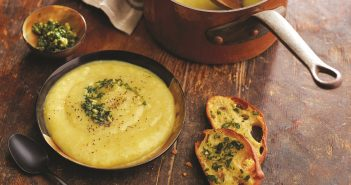Rustic Tuscan Potato Leek Soup with Olive Oil Pesto