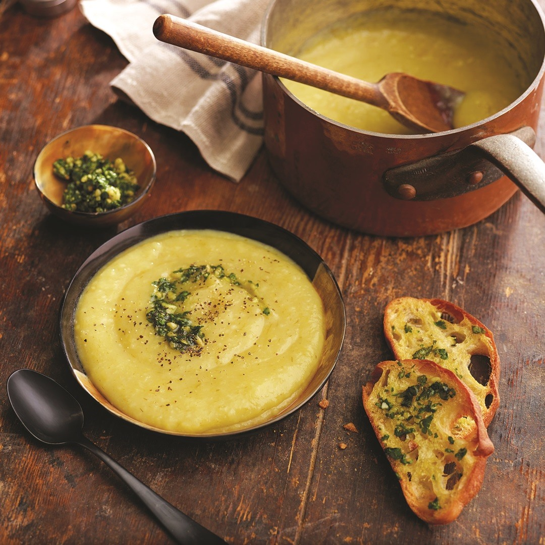 Rustic Dairy-Free Potato Leek Soup Recipe with Easy Homemade Vegan Basil-Parsley Pesto for a Plant-Based Taste of Tuscany