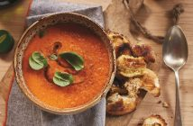 Tomato Soup with Homemade Olive Oil Croutons