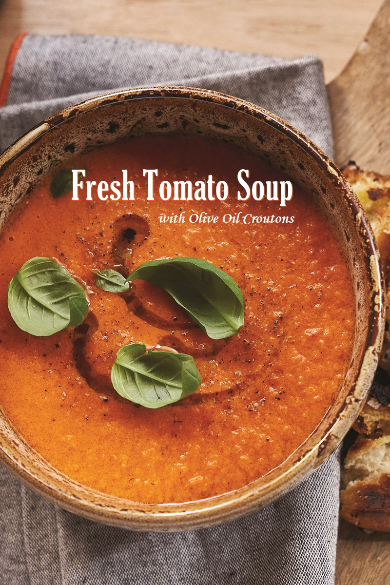 Fresh Tomato Soup Recipe infused with Rich Olive Oil and Served with Rustic Toast - vegan, gluten-free, allergy-friendly and paleo options