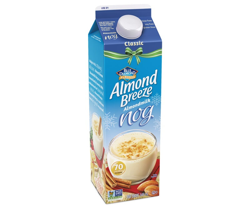 Dairy-Free Holiday Beverages: Almond Breeze Nog varieties pictured