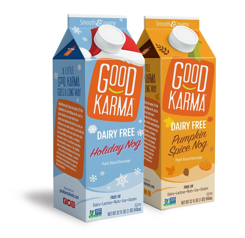 Dairy-Free Holiday Beverages: A Big Round-Up of Vegan Nog, Pumpkin, and Chocolate Mint Drinks (Good Karma Nogs pictured)