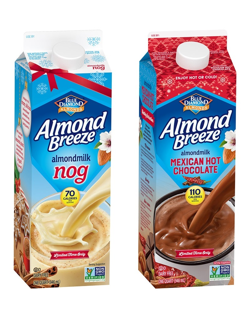 Dairy-Free Holiday Beverages: Almond Breeze Nog and Mexican Hot Chocolate varieties pictured