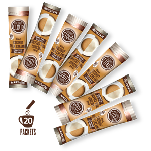 Coconut Cloud Powdered Coconut Milk Creamer Reviews and Info - Dairy-Free, Soy-Free, Carrageenan-free, and Vegan. Sold in canisters, bags, and single serves. Pictured: Salted Caramel