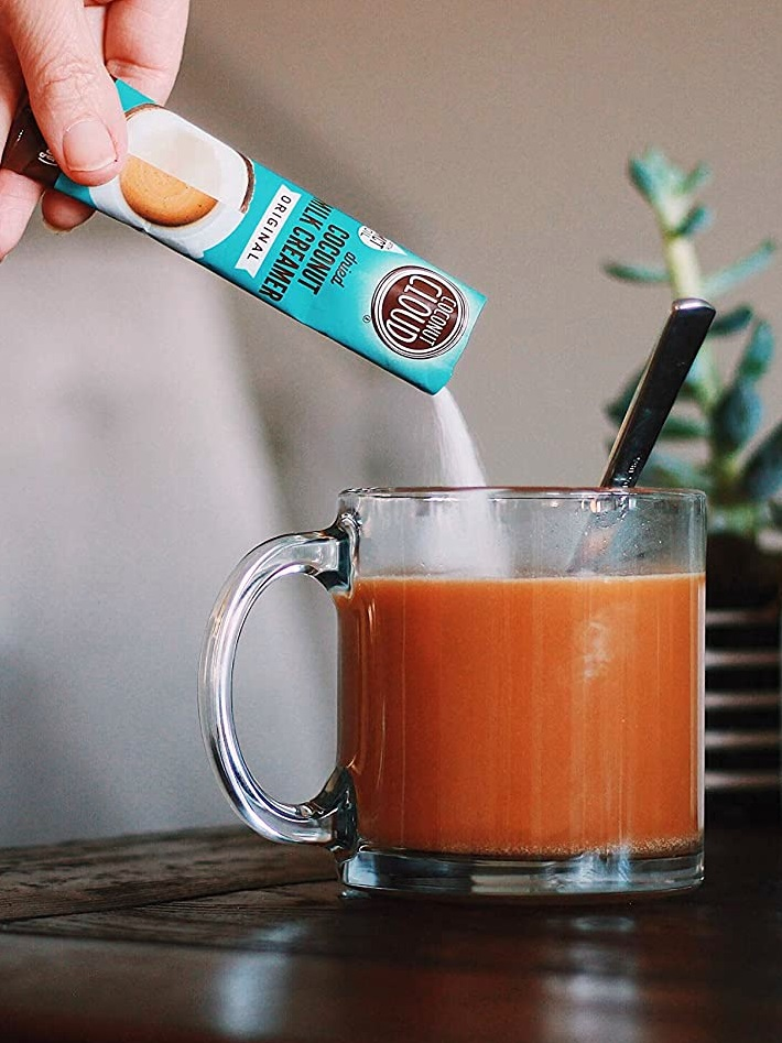 Coconut Cloud Powdered Coconut Milk Creamer Reviews and Info - Dairy-Free, Soy-Free, Carrageenan-free, and Vegan. Sold in canisters, bags, and single serves. Pictured: Original single serves