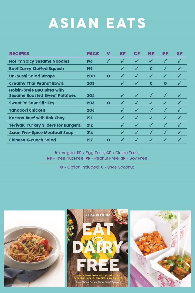 Eat Dairy Free Cookbook - Complete Recipe List with Allergen Charts - Asian Eats Chapter