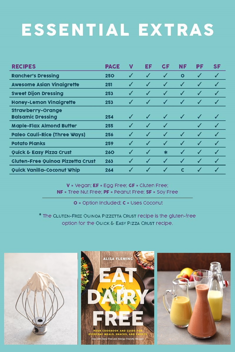 Eat Dairy Free Cookbook - Complete Recipe List with Allergen Charts - Essential Extras Chapter