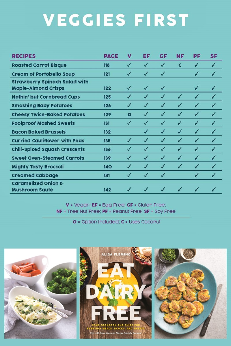Eat Dairy Free Cookbook - Complete Recipe List with Allergen Charts - Veggies First Side Dish Chapter